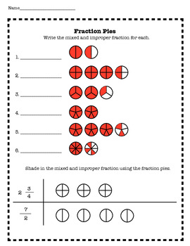 Fraction Pies Worksheet