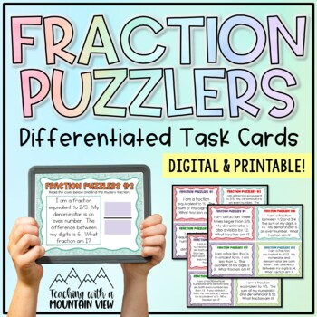 Fraction Puzzlers Challenge Task Cards {Perfect for Differentiation}