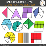 Fractions Clipart - Halves through Twelfths