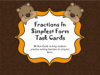 Fractions In Simplest Form Task Cards