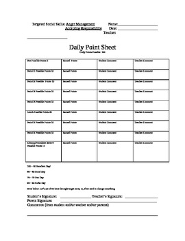 Daily Point Sheet/Classroom Behavior Management Special Ne