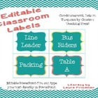 Free Editable Classroom Labels for Dots on Turquoise Lovers