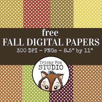 Free Fall Digital Papers: Polkadot Autumn Digital Papers