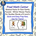 Freebie Winter Moose Math Fact Family Puzzles