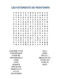 French Spring Clothing Word Search