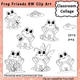 Frog Friends Clip Art - bw line drawings - personal & comm