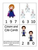 Frozen themed Count and Clip math cards preschool and dayc