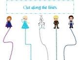 Frozen themed Cutting with Scissors practice homeschool da