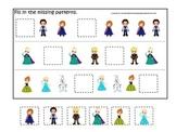 Frozen themed Fill in the Missing Pattern homeschool dayca