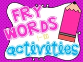 No Prep Fry Words 1-100 Activity Mega Pack
