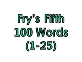 Fry's Fifth 100 Vocabulary Sight Words (1 - 100)