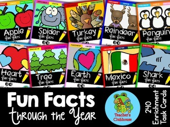 Fun Facts: Through the Year {Self-Checking Task Cards}