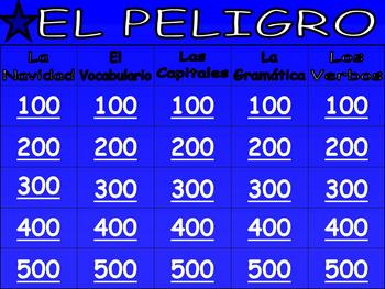 Fun Spanish Jeopardy Game (Vocabulary, Grammar, La Navidad