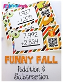 Funny Fall Multi-Digit Addition & Subtraction QR Code Task Cards
