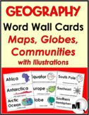 Geography Word Wall Cards Set (Maps, Globes, & Communities