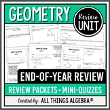 Geometry: End of Year Review Packets + Quizzes!