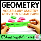 Geometry Vocabulary Cards for sorting/study with Game Ideas