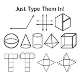 Geometry Fonts - Angles, Shapes, Nets & Pattern Blocks