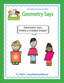 Common Core Geometry Game for 2nd – 5th Grade: Geometry Says