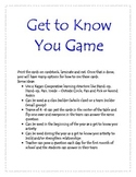 Get to Know You Activity