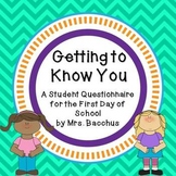 Getting to Know You - Student Questionnaire for the First