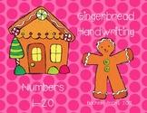 Gingerbread Handwriting Numbers 1-20