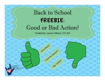 Back to School: Good or Bad Action? FREEBIE