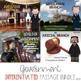 Government Branch & Level BUNDLE {Differentiated Reading P