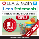 Sixth Grade Common Core Standards Posters I Can Statements