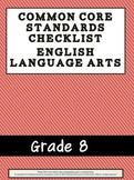 Grade 8 ELA Common Core Checklist- Coral and Black Theme