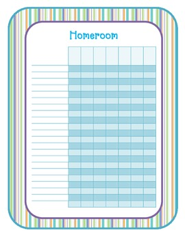 Grade Book or Attendance Book Pages - stripes