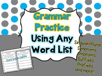 Grammar Practice Using Any Word List