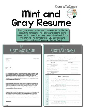 Resume Template for Teachers - Mint and Gray