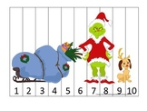 Grinch Christmas themed Number Sequence Puzzle 1-10 presch
