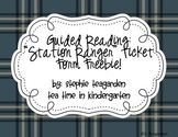 Guided Reading:Station Ranger Ticket FREEBIE