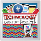 Editable Technology Classroom Decor Materials Pack