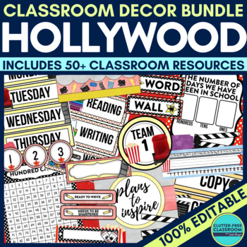 HOLLYWOOD / MOVIES Classroom Theme EDITABLE Decor 34 Printable Product Bundle