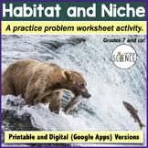 Habitat and Niche Practice Problem Worksheet for Ecology Unit