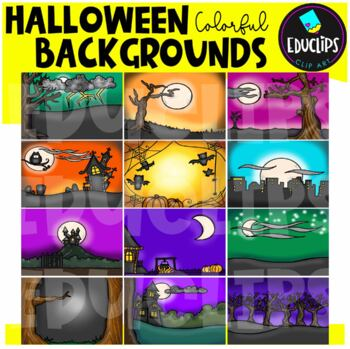 Halloween Backgrounds Clip Art Bundle