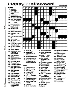 Halloween Crossword Puzzle 15 X 15