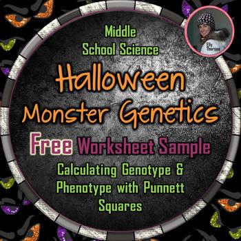 Halloween Genotype and Phenotype Punnett Square Worksheet FREEBIE