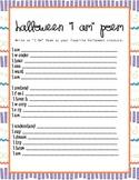 Halloween I Am Poem Worksheet