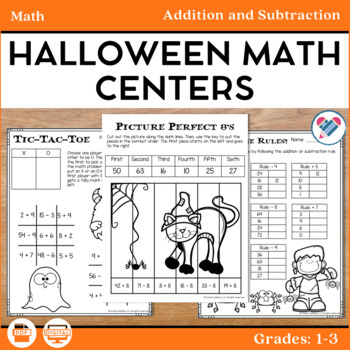 Halloween Math Centers Addition and Subtraction