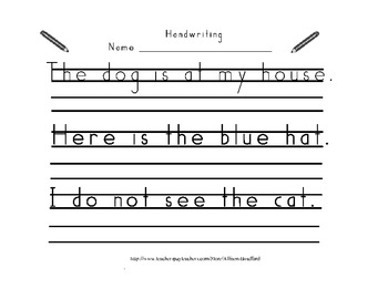 Handwriting Practice with Sight Words-Handwriting With Thin Lines