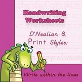 Handwriting Worksheets Practice: D'Nealian/Print Style - W