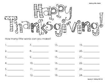 Happy Thanksgiving - Making Little Words