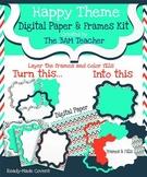 Happy Theme Digital Papers & Frames (Borders) Kit Clip Art