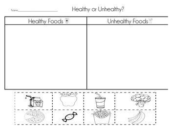 Healthy Vs Unhealthy Foods Worksheet