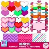 Hearts, Frames, & Background Paper Clip Art - Commercial &