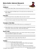 Helen Keller Internet Research Worksheet